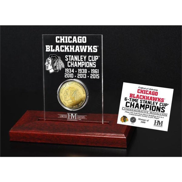 Chicago Blackhawks 6-Time Stanley Cup Champions Etched Display Gold Mint Coin 15688502