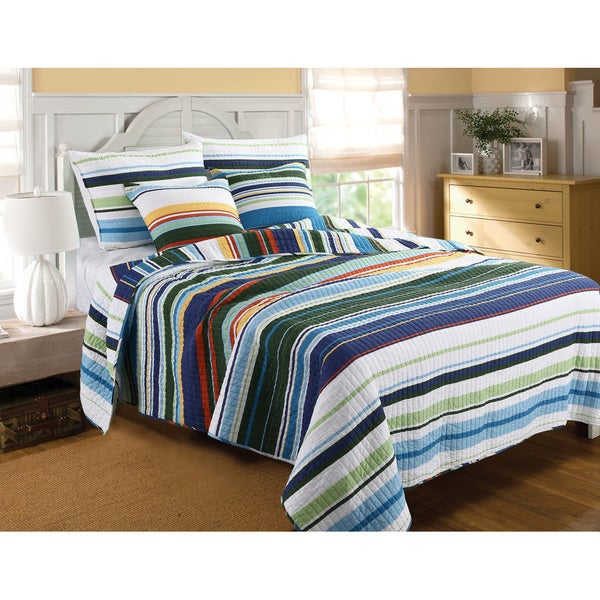 Jordan Oversized Striped Cotton 3-piece Quilt Set