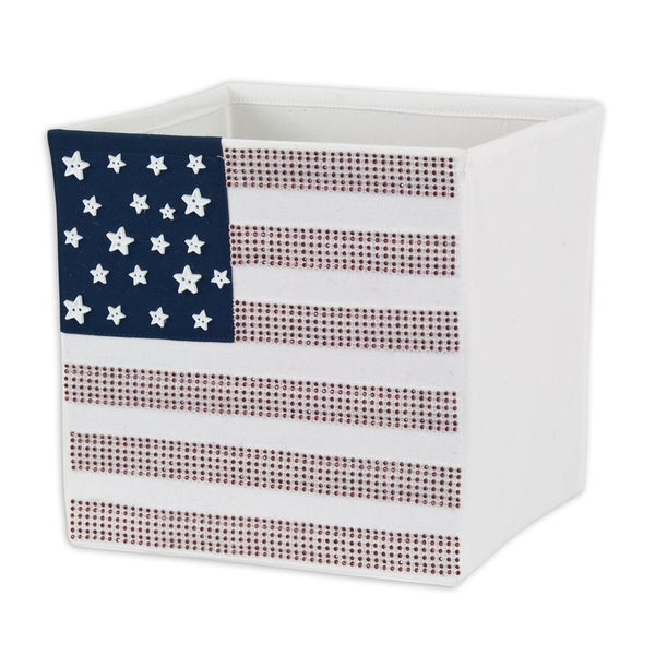 Stars and Stripes Storage Bin with 20 White Stars