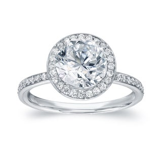 Auriya 18k White Gold 2 2/5ct TDW Certified Round Cut Diamond Engagement Ring (G-H, SI1-SI2)