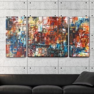 Studio 212 'Inspired' 30x60 Triptych Textured Canvas Wall Art