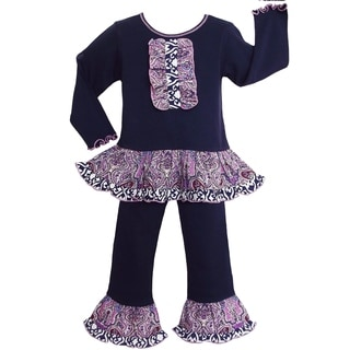 AnnLoren Girls Blue & Purple Paisley Damask Lattice Outfit
