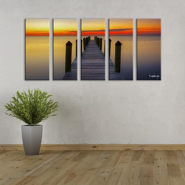 Ready2HangArt Bruce Bain 'Strokes of Light at Sea II' 5-pc Canvas Art Set