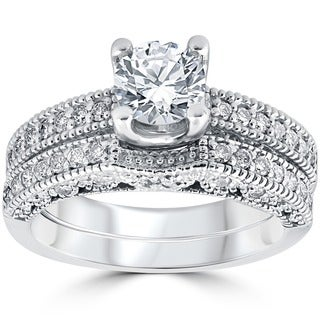Bliss 14k White Gold 1 1/10 ct TDW Vintage Pave Diamond Matching Wedding Ring Set (G-H, I1-I2)