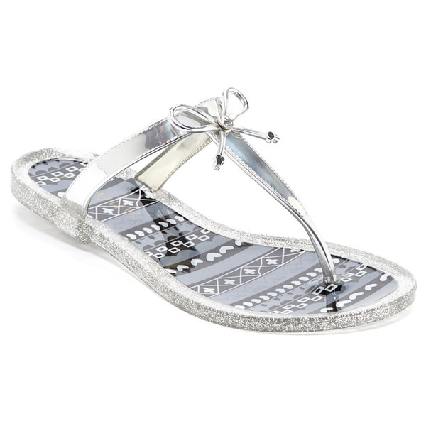be1c7a5e180f15 Soda Gel Womens Rhinestone Bow Jelly Flip Flop Thong Sandals on ...