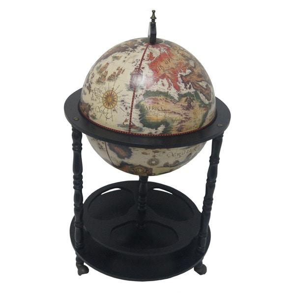 16th Century Italian-style White 20-inch Floor Globe Bar