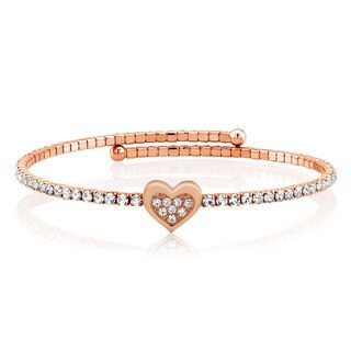 Rose Goldplated Cubic Zirconia Heart Wrap Bangle
