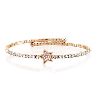Rose Goldplated Cubic Zirconia Star Wrap Bangle