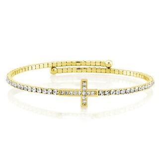 Goldplated Cubic Zirconia Cross Wrap Bangle