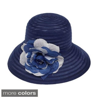 Swan Hat Women's Summer Crinalin Wide Brim Hat with 2-Tone Flower Pin