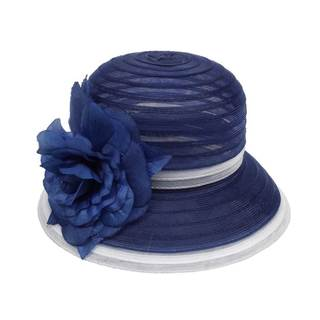 Swan Hat-Women's 2-Tone Crinalin with Flower Pin Cloche Summer Hat