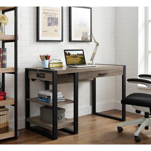 dark taupe reclaimed look silver metal 60 inch office desk