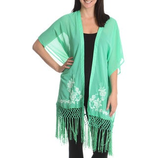 blue island Women's Fringe and Embroidery Cover-Up