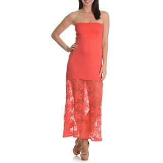 Blue Island Women's Flower Pattern Mesh Bottom Maxi Skirt