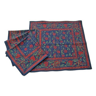 Set of 4 Winter Blue Floral Table Cover Napkins (India)