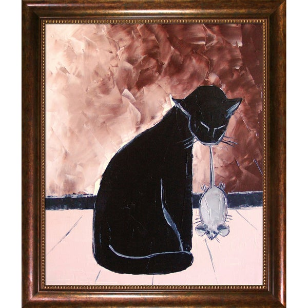 Atelier De Jiel 'Black Cat with his Mechanic Mouse' Framed Fine Art Print