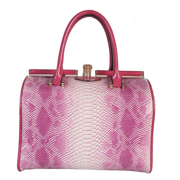 Rimen & Co. Crocodile Embossed Push Lock Handbag