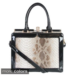 Rimen & Co. Snake Embossed Push Lock Handbag