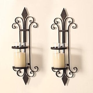 Adeco Iron and Glass Vertical Wall Hanging Candle Sconce (Set of 2)
