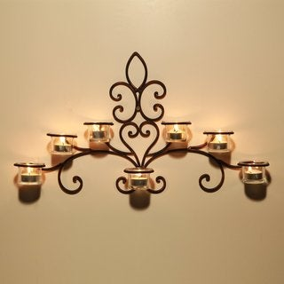 Adeco Iron and Glass Horizontal Wall-hanging 7-light Scrolled Candle Holder Sconce