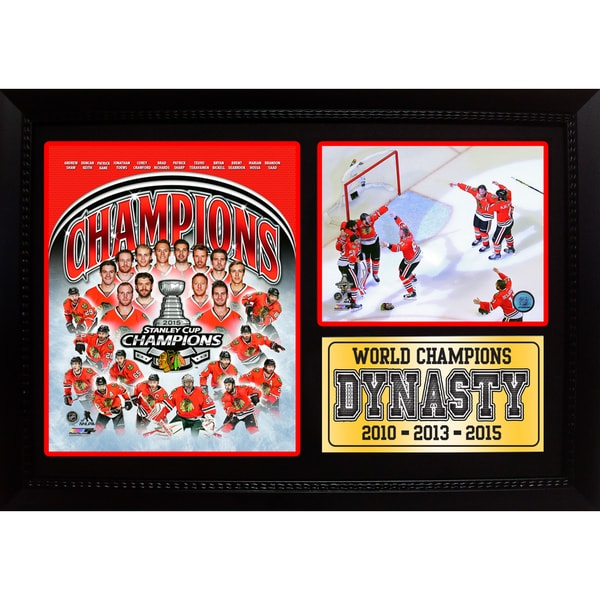 2015 Stanley Cup Champions Chicago Blackhawks 12x18 Photo Stat Frame