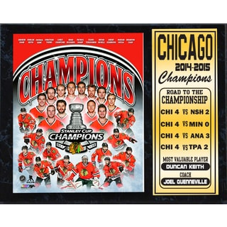 2015 Stanley Cup Champions Chicago Blackhawks 12x15 Stat Plaque