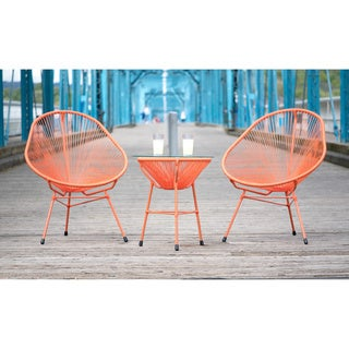 Decorative Modern Orange Indoor/Outdoor Bistro Dining Set