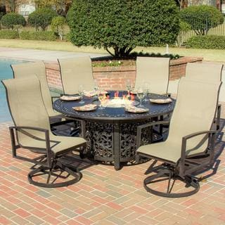 Acadia 6-person Sling Patio Dining Set with Fire Pit Table