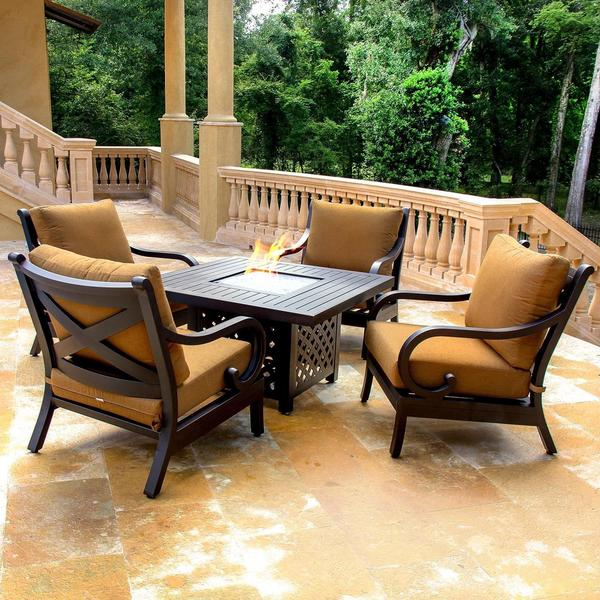 Avondale Cast Aluminum 4 Person Patio Deep Seating Set With Fire Pit Table