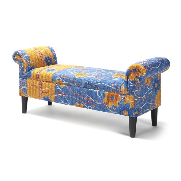 Jennifer Taylor Kantha Blue Roll Arm Bench