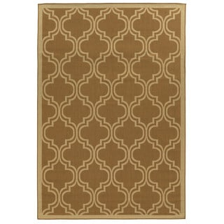 Oh! Home Beige Quatrefoil Reversible Outdoor Rug (6'6 x 9'6)
