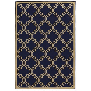 Oh! Home Navy Quatrefoil Reversible Outdoor Rug (6'6 x 9'6)