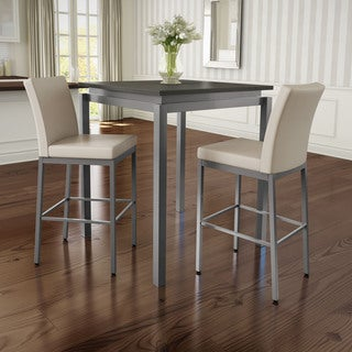 Amisco Perry Metal Counter Stools and Cameron Table, Pub Set in Grey Metal