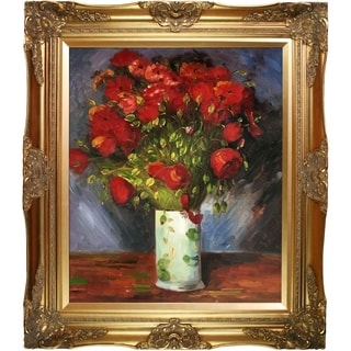 Vincent Van Gogh 'Vase with Red Poppies' Hand Painted Framed Canvas Art