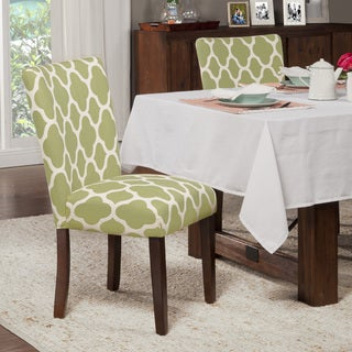 HomePop Classic Parsons Dining Chair - Geo Brights Light Green (Set of 2)