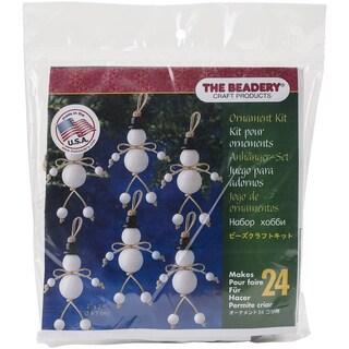 Holiday Beaded Ornament Kit Folk Snowmen 3inX2.75in Makes 24