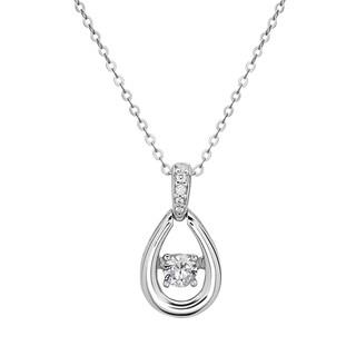 La Preciosa Sterling Silver 'Dancing' Cubic Zirconia Teardrop Pendant