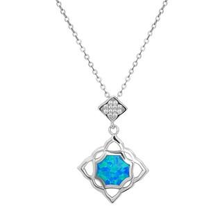 La Preciosa Sterling Silver Blue Opal and Cubic Zirconia Square Pendant