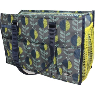Creative Options 5 Pocket Knitting Tote 15.5inX6.5inX10.25in Navy, Gray & Yellow