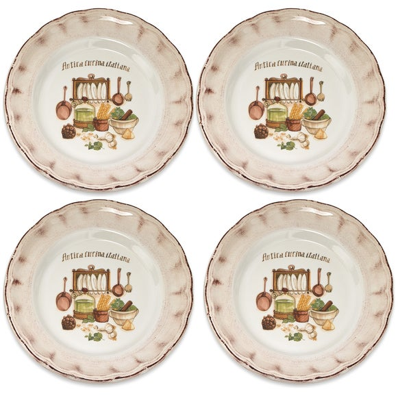 Italian-made Cucina Italiana Dinner Plates (Set of 4)