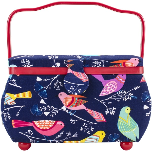 Sewing Basket Rectangle 10.5inX6inX7in Birds On Blue