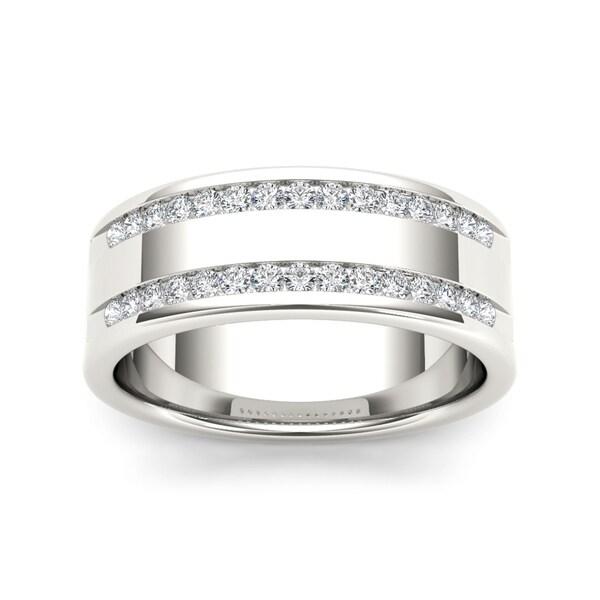 De Couer 14k White Gold 12ct TDW Diamond Men's Wedding Band (H-I, I2)