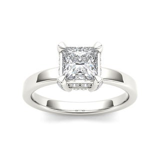 De Couer 14k White Gold 1 1/5ct TDW Princess-Cut Diamond Classic Engagement Ring (H-I, I2)