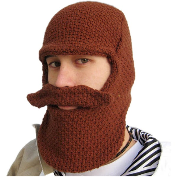 Brown Beard Knit Hat