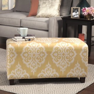 HomePop Yellow and Cream Damask Pattern Decorative Bench