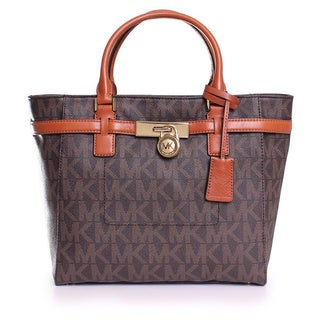 Michael Michael Kors Monogram Brown MK Signature Hamilton Large TZ Tote