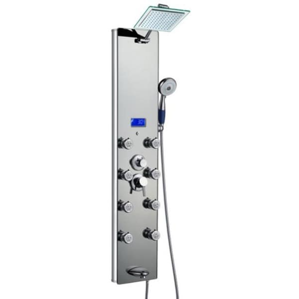 AKDY 51-inch Mirror Aluminum Shower Panel with Tower Massage Spa System Kits Rainfall Shower Head 15690473
