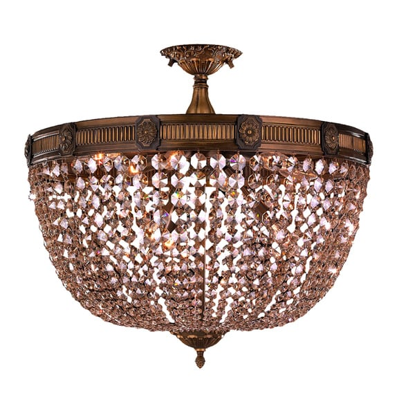 Winchester D24-inch H20-inch Antique Bronze Finish Golden Teak Crystal Flush Mount