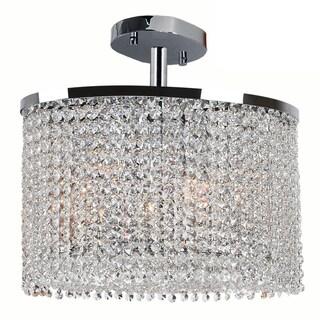 Modern Crystal Rainfall 2-light Oval Shape Semi Flush Ceiling Light