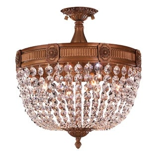 Winchester D 16-inch x H 15-inch French Gold Finish Clear Crystal 4-light Flush Mount
